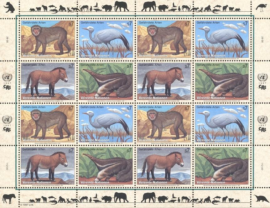 Stamps with Bird, Horse, Monkey, Anteater, Endangered Species from United Nations (image for product #182411)