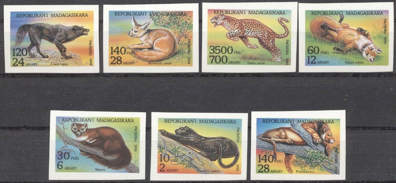 Stamps with Panther, Fox, Lion, Marten, Wolf from Madagascar (image for product #188583)
