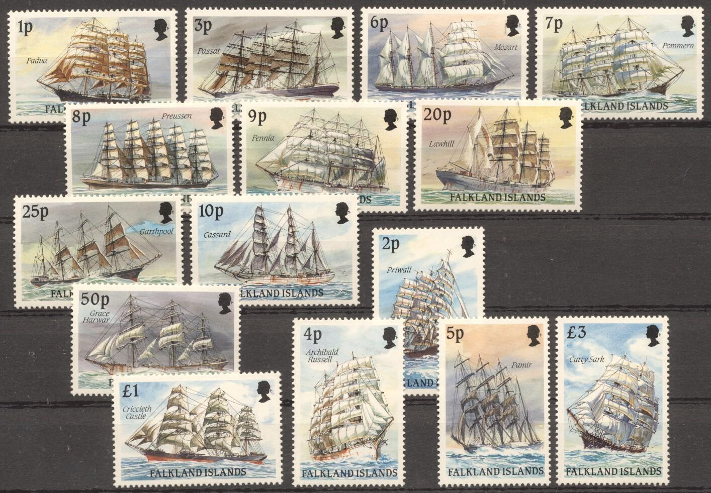 Stamps with Ship, Definitive Issue from Falkland Islands (image for product #227714)