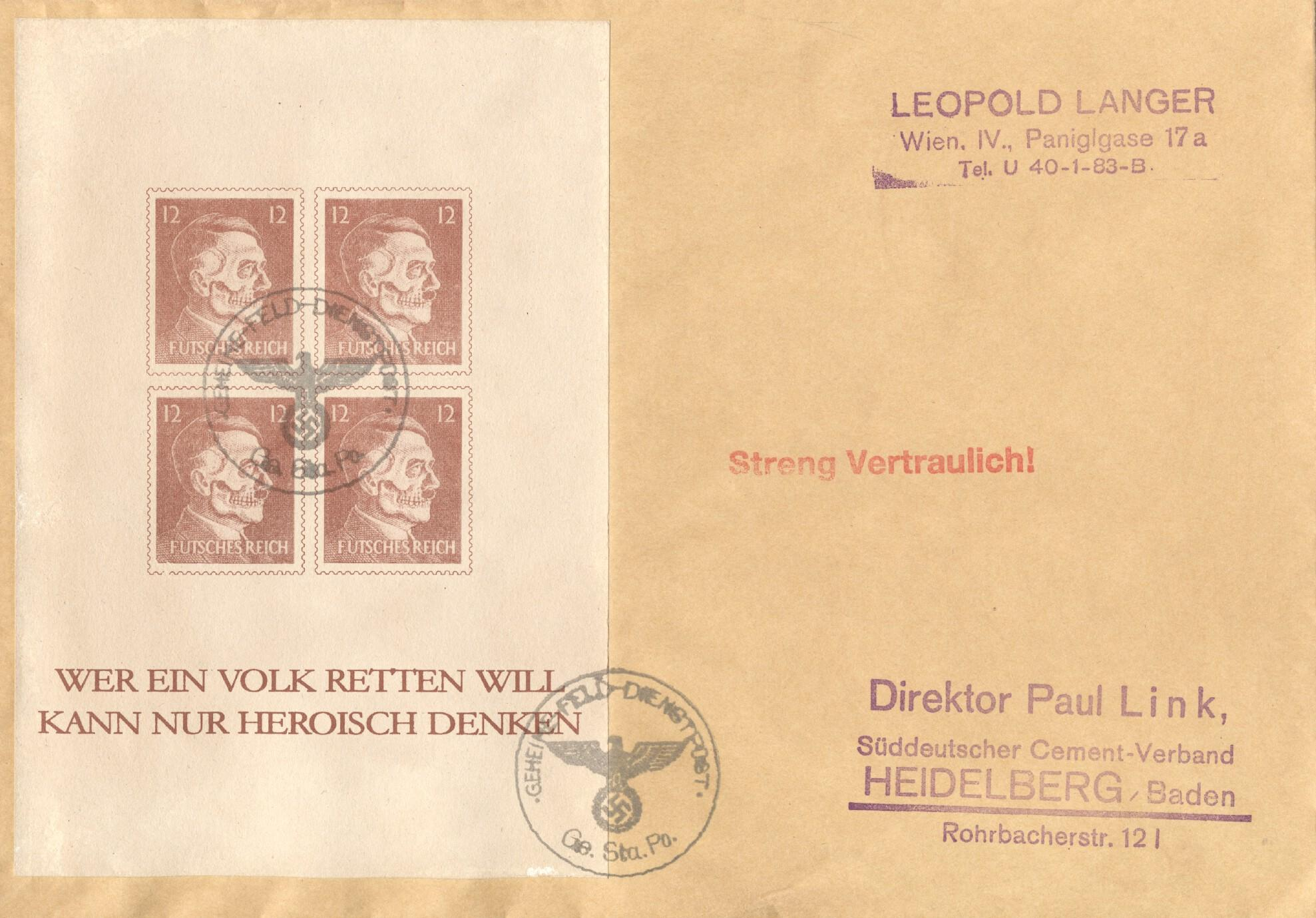 Stamps with World War II, Skull, Hitler from Germany (Reich) (image for product #240727)
