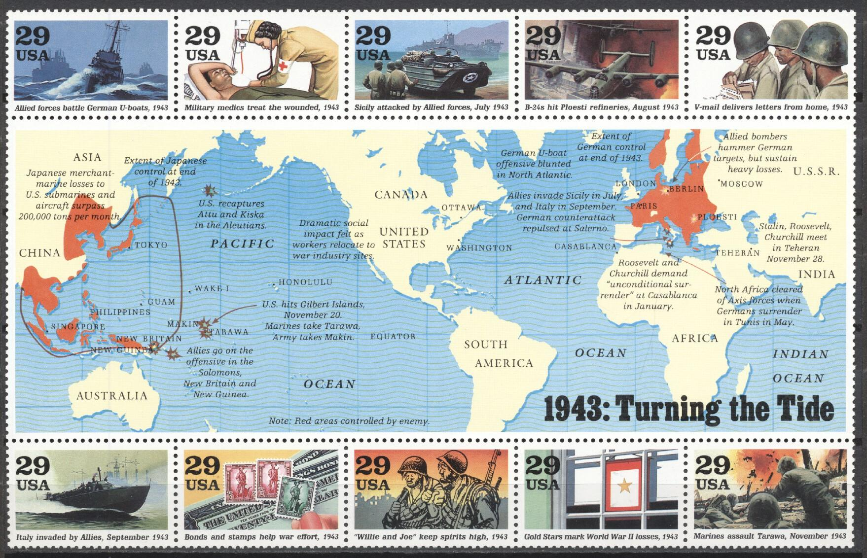 Stamps with World War II, History from USA (United States) (image for product #245730)