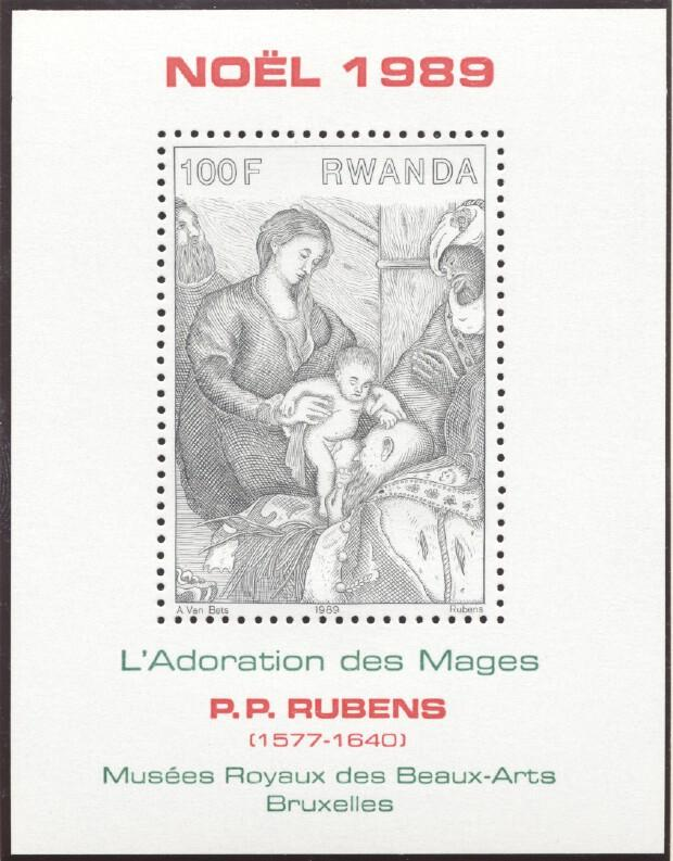 Stamps with Christmas, Rubens from Rwanda (image for product #245903)