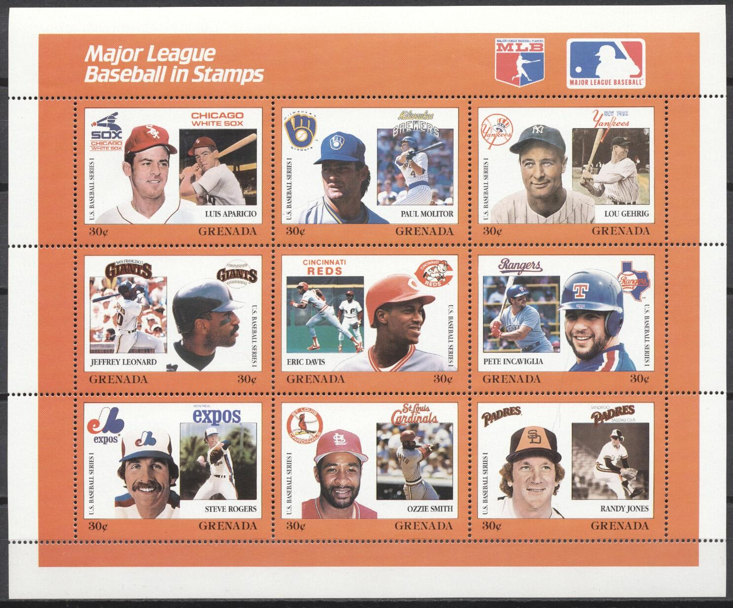Stamps with Baseball from Grenada (image for product #246939)
