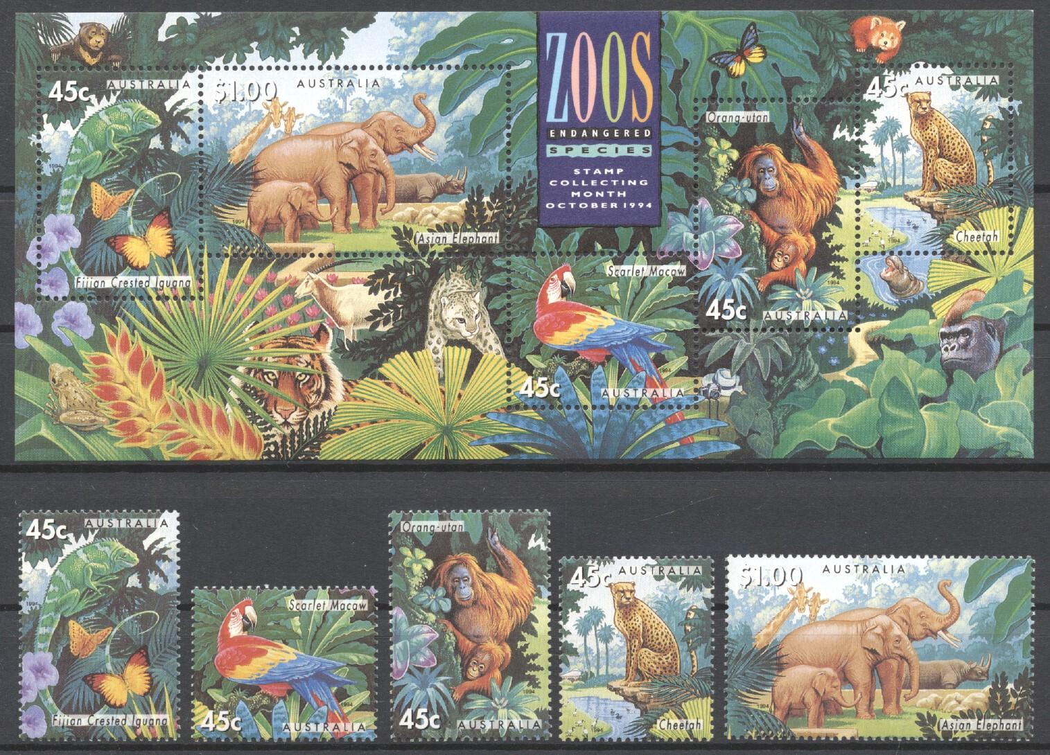 Stamps with Parrot, Tiger, Elephants, Lizard, Orang Utan from Australia (image for product #250779)