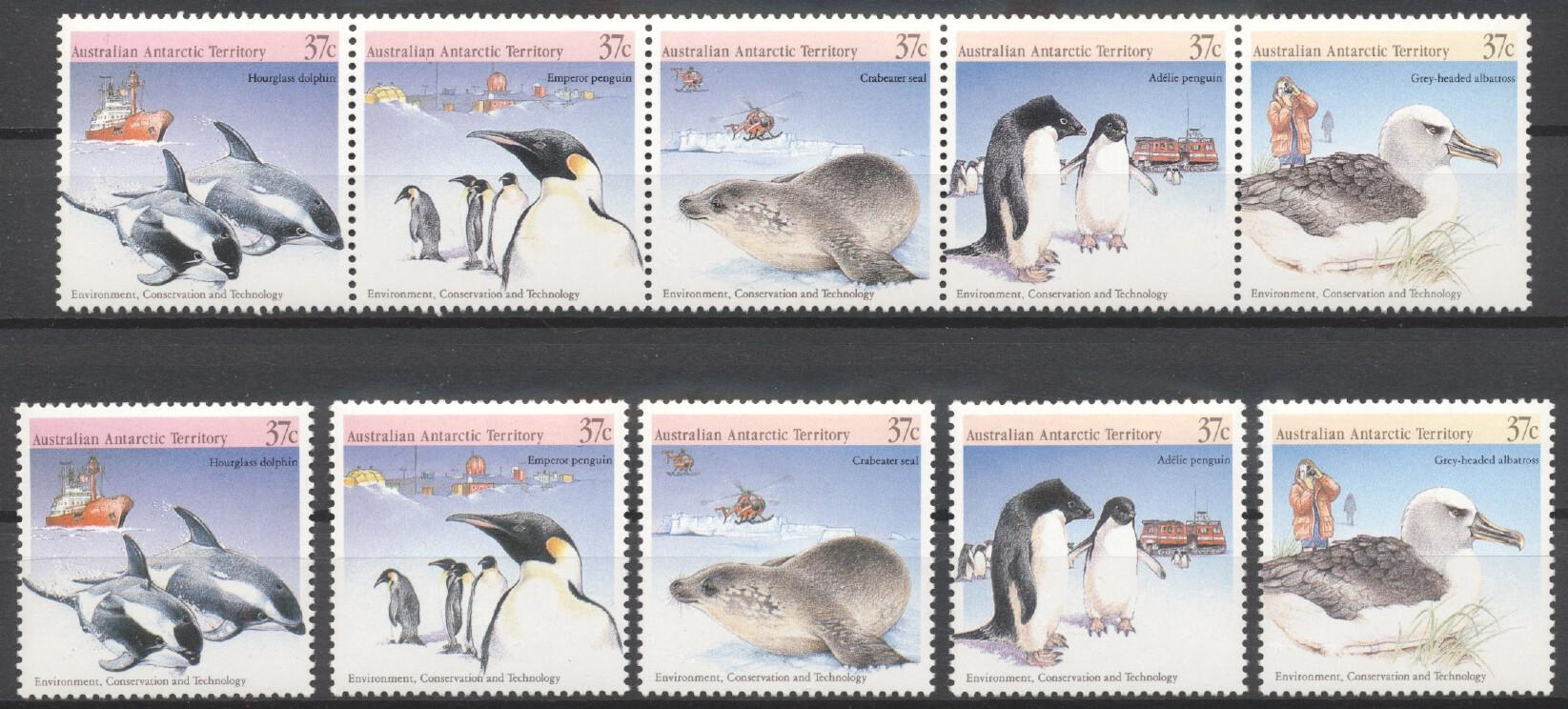 Stamps with Bird, Seal, Penguin, Dolphin from A.A.T. (image for product #250830)