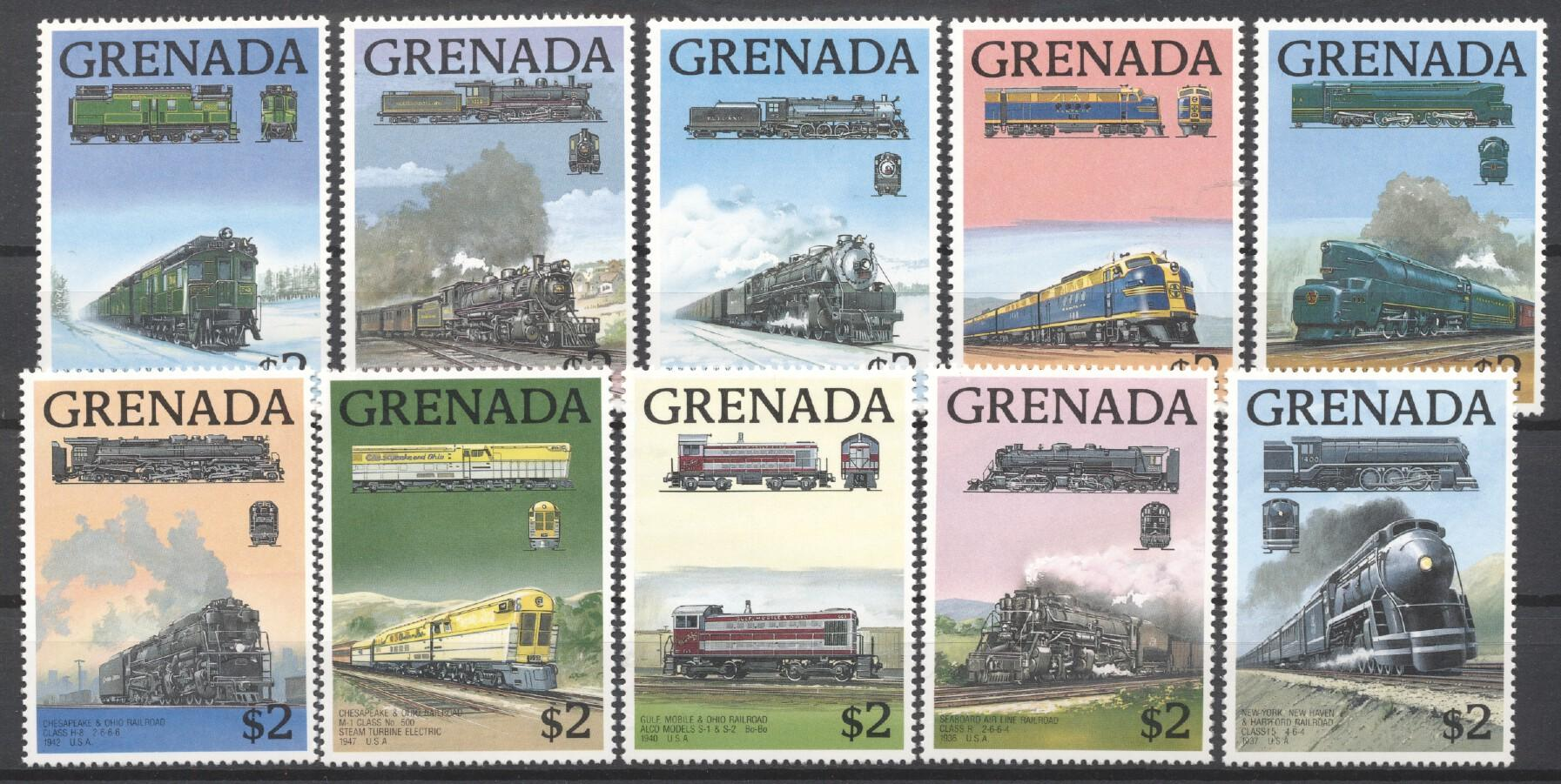 Stamps with Train / Railway from Grenada (image for product #252652)