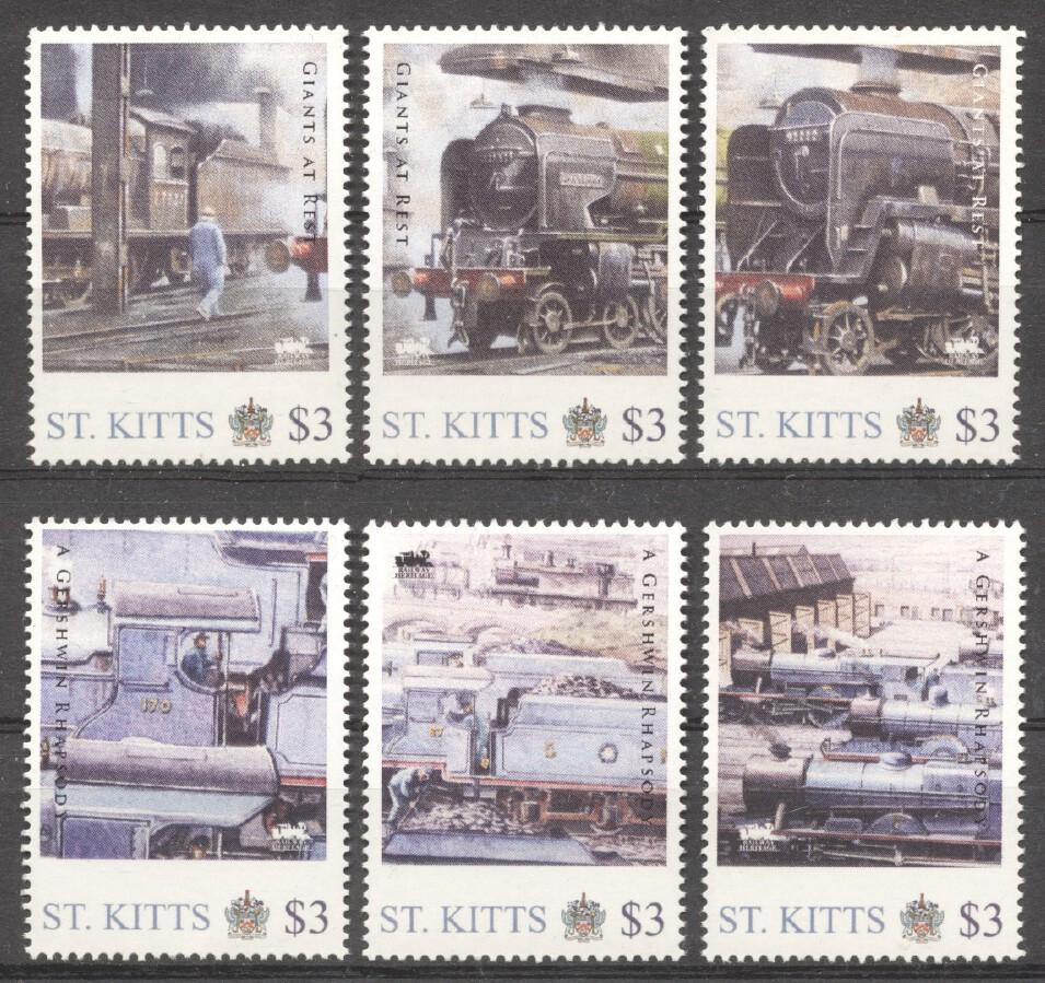 Stamps with Train / Railway from St. Kitts & Nevis (image for product #256850)