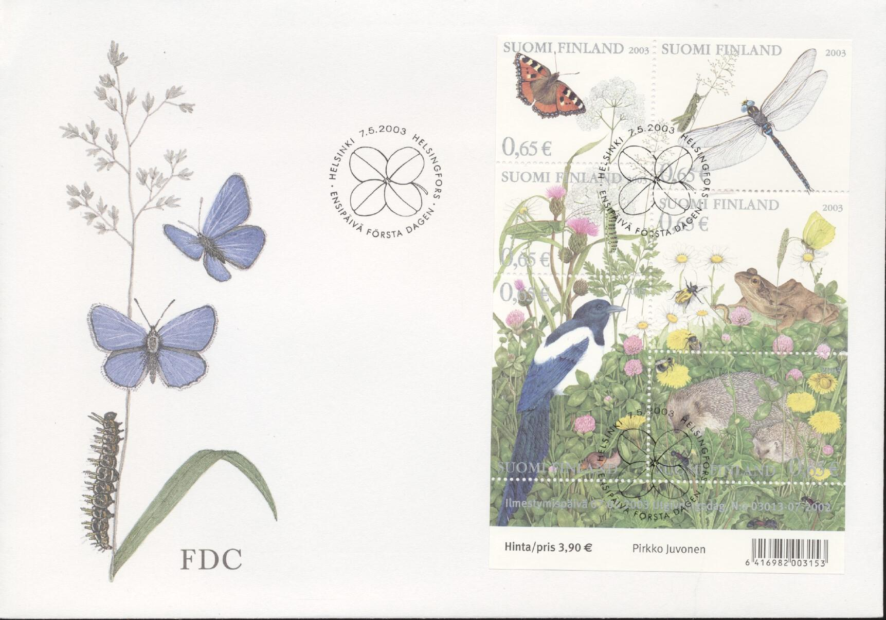 Stamps with Flowers, Butterflies, Hedgehog from Finland (image for product #258048)