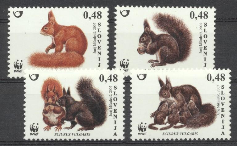 Stamps with WWF, Squirrel from Slovenia (image for product #259392)