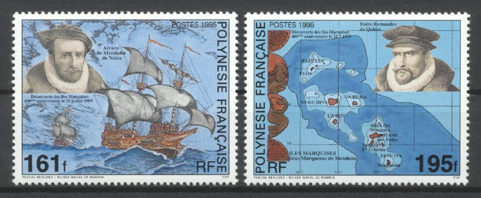 Stamps with Ship, Explorers from Polynesia Fr. (image for product #261542)