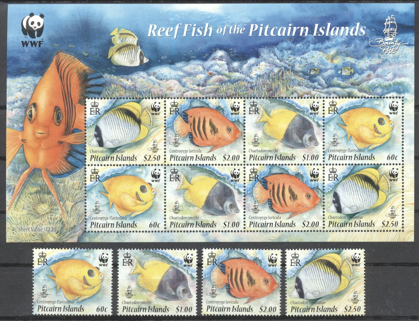 Stamps with Fish, WWF from Pitcairn (image for product #263048)