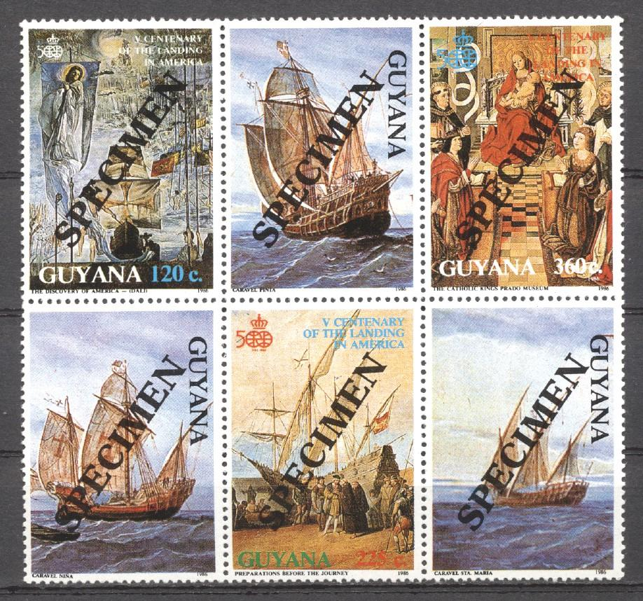 Stamps with Ship, Columbus from Guyana (image for product #270370)
