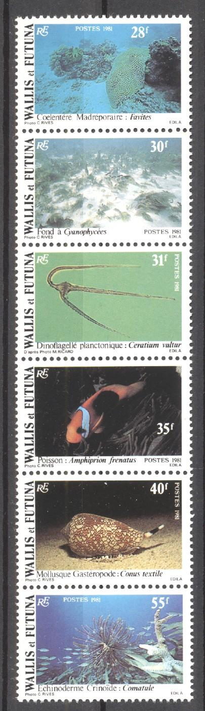 Stamps with Fish, Shells, Corals from Wallis & Futuna (image for product #271817)