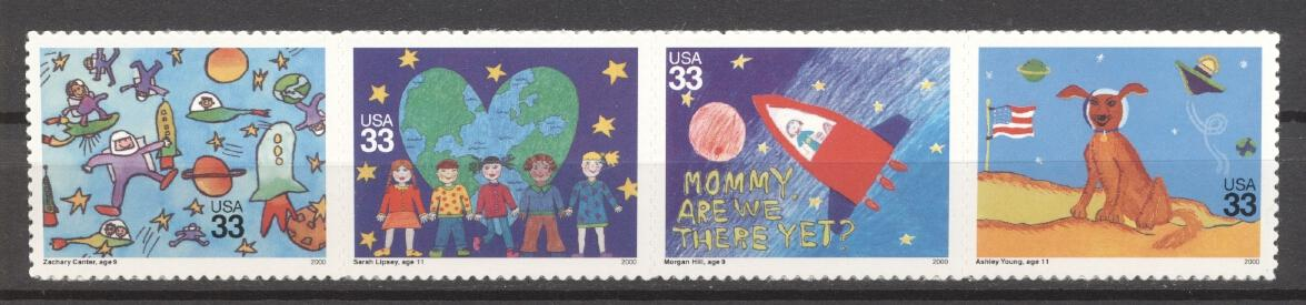 Stamps with Space, Drawing, Dogs from USA (United States) (image for product #286754)