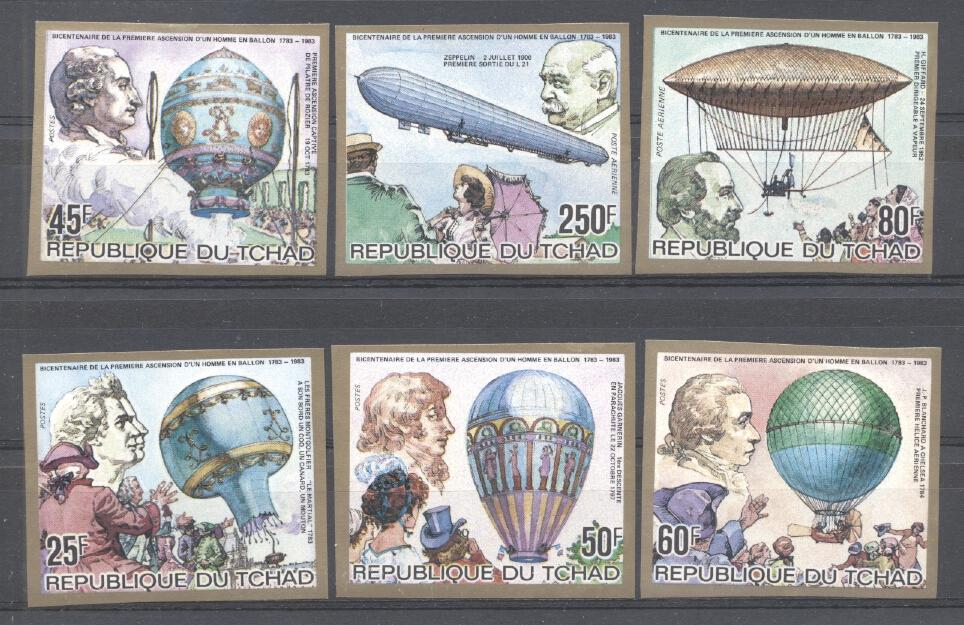 Stamps with Balloon, Zeppelin from Chad (image for product #289818)